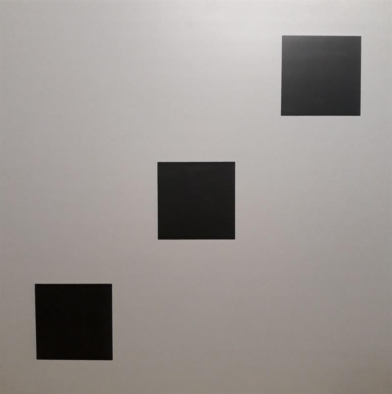 Domino  brushed  silver  black  diagonal